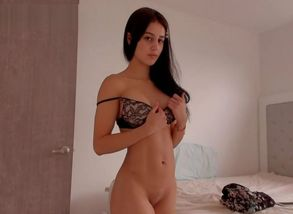 Long-haired stunning dame posing at..