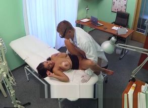 Bigtitted european patient sprays while