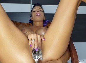 Red-hot Latina self exam Butt-plug..