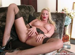 Posh ash-blonde mega-slut takes off..