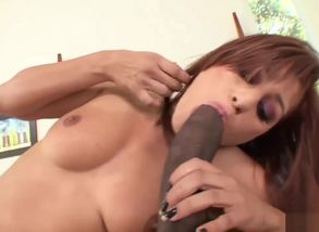 Ebony pipe plumbs a thin black-haired