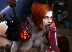 Woman Deep-throating Worgen