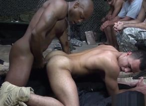 Dark-hued army sergeant assfucks bloke