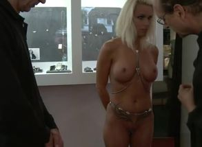 Huge-boobed bound blond plowed in public